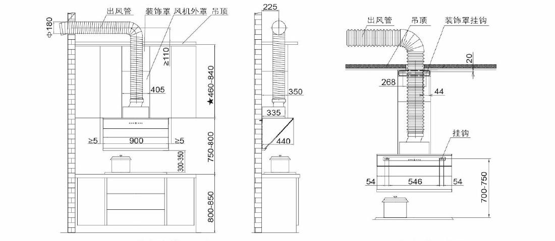 方太CXW-228-JQ15T安装示意图