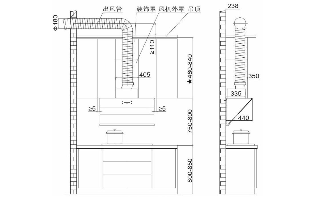 方太CXW-228-JQ71T安装示意图