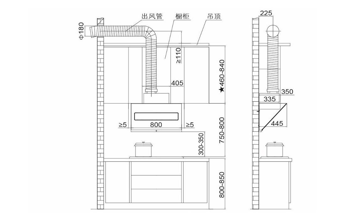 方太CXW-228-JQD6T安装示意图