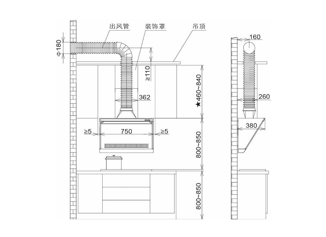 方太CXW-189-JN02E安装示意图