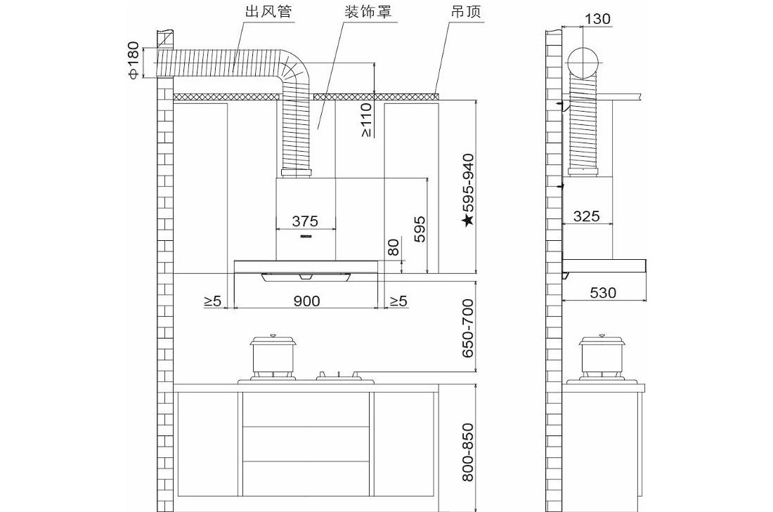 方太CXW-200-EMD2T安装示意图