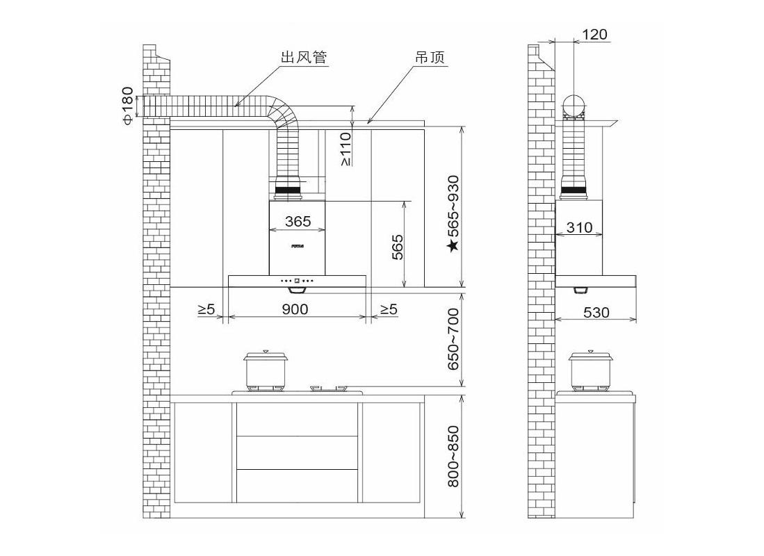 方太CXW-200-EN53T安装示意图