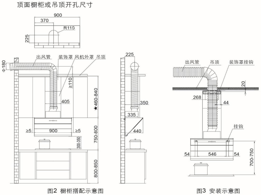 方太CXW-228-JQ15T安裝示意圖