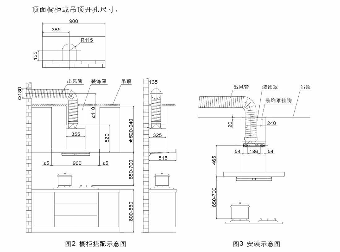 方太CXW-258-EM33安装示意图
