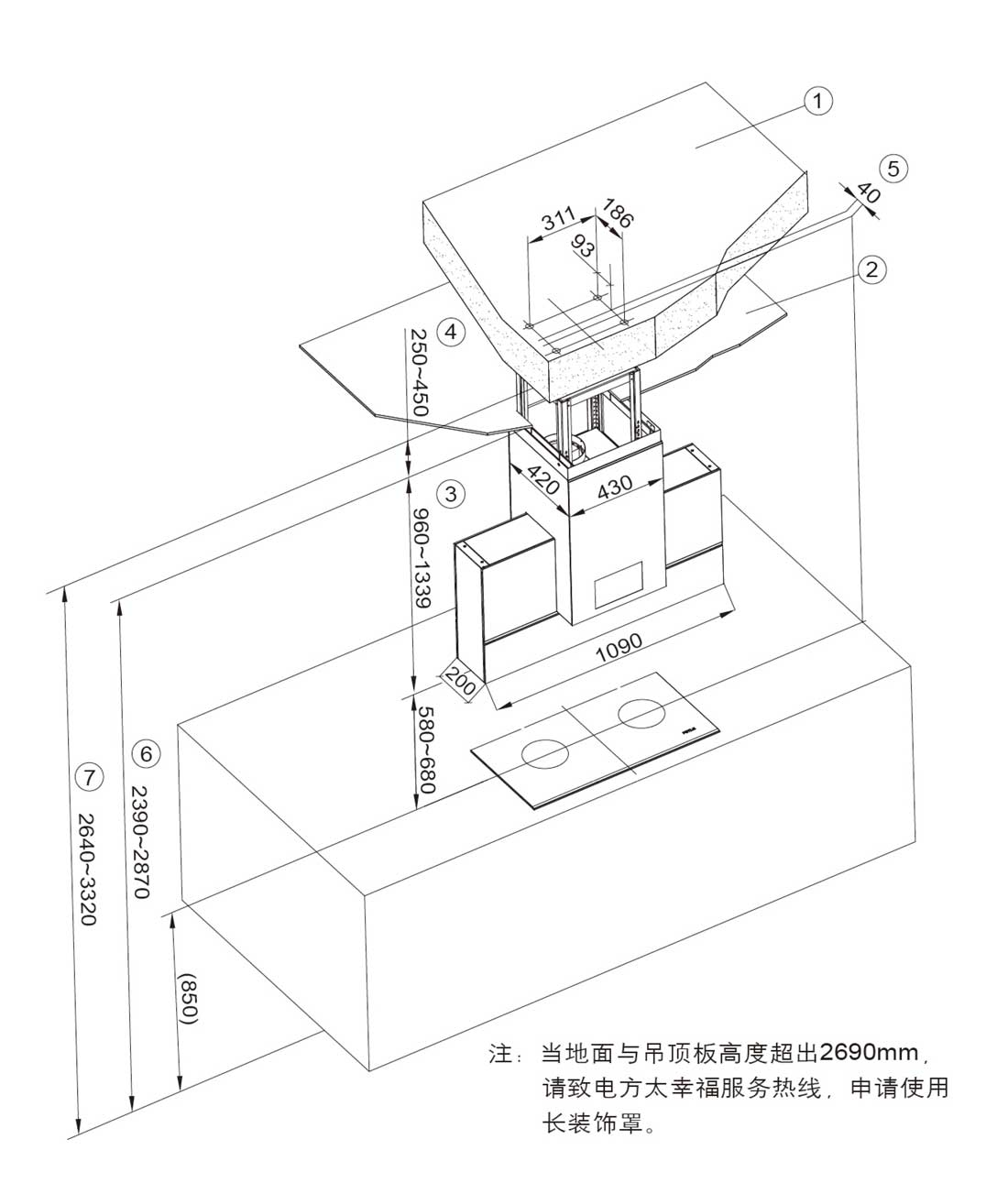 方太CXW-258-EA06安装示意图